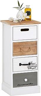 IDIMEX Chiffonnier Salva étagère de Rangement avec 4 tiroirs en Bois de Paulownia Style Shabby Chic Vintage Rustique Blanc...