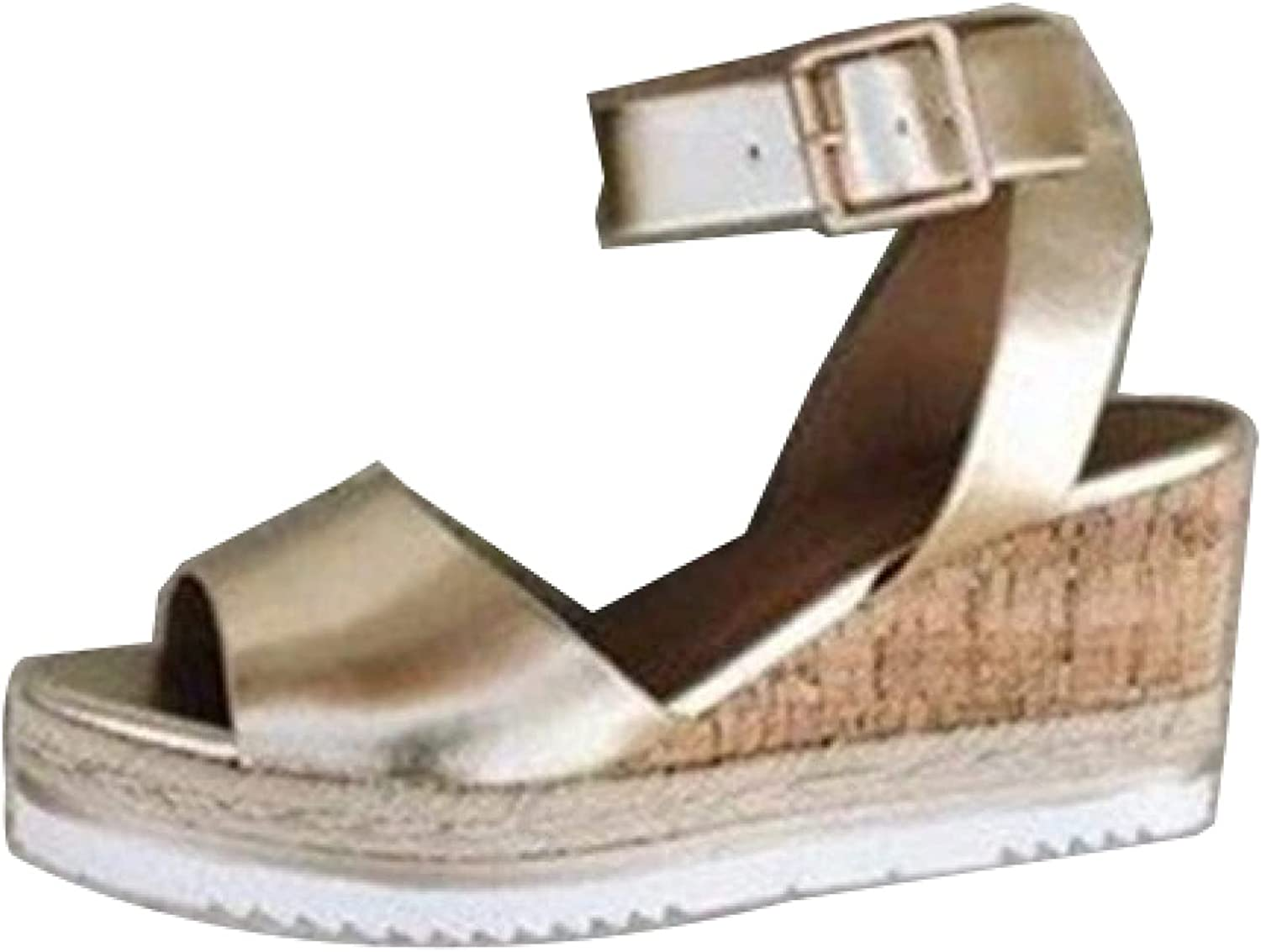 Wedges Large discharge sale Sandal for Womens Beach Retro Open Toe Ankle Adjus Buckle Store