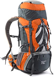 Backpack Female Super Large Capacity Hiking backpack Outdoor Mountaineering Bag Luggage Travel Annacboy (Color : Orange)