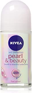 (Pack of 3 Bottles) Nivea PEARL & BEAUTY Women's Roll-On Antiperspirant & Deodorant. 48-Hour Protection Against Underarm W...