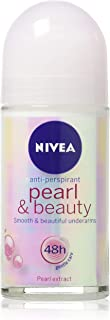 (Pack of 3 Bottles) Nivea PEARL & BEAUTY Women's Roll-On Antiperspirant & Deodorant. 48-Hour Protection Against Underarm Wetness. (Pack of 3 Bottles, 1.7oz / 50ml Each Bottle)