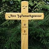 LASERfein Edles Grabkreuz, Holzkreuz, Wegekreuz, Unfallkreuz, inklusive Gravur !!! 95x50cm