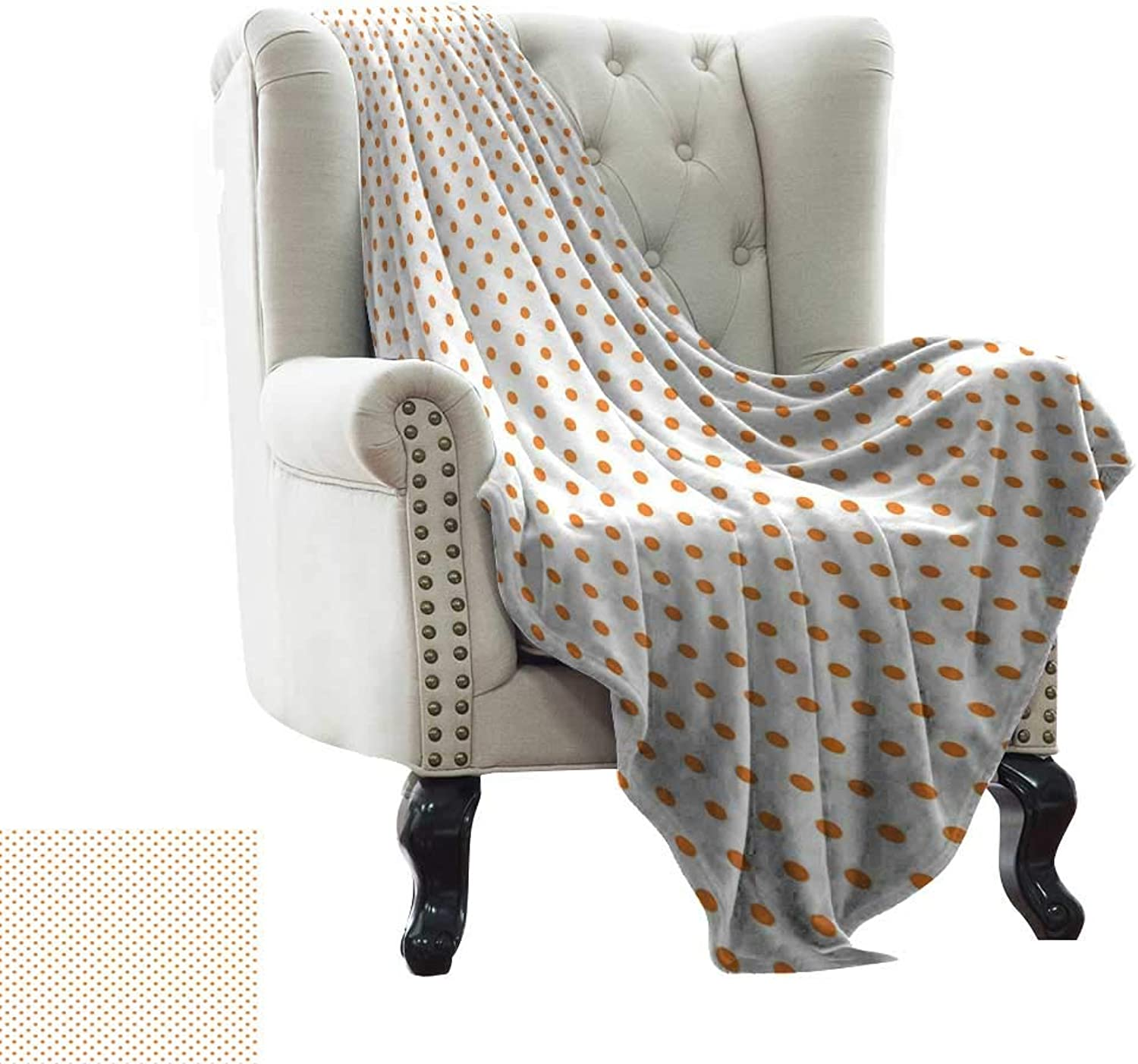 WinfreyDecor Super Soft BlanketsLittle orange Polka Dots on Blank Backdrop Spotted Tile Pattern Retro Style Print Cozy for Couch Sofa Bed Beach Travel 36  Wx60 L