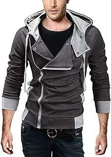 Men's Oblique Zipper Hoodie Casual Slim Fit Top Cosplay Costume Jacket