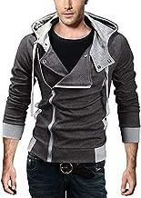 King Ma Men's Oblique Zipper Hoodie Casual Slim Fit Top Cosplay Costume Jacket