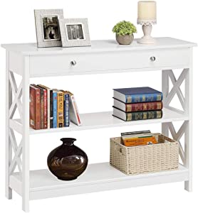 Yaheetech 3-Tier Sofa Side Console Table with 1 Drawer and 2 Storage Shelves Narrow Accent Table for Entryway/Hallway/Living Room, 39.3in L x 11.7in W x 31.5in H, White
