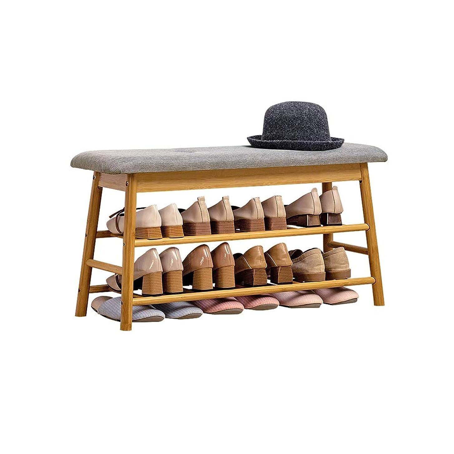 決定的司書構成員NAN liang 健康的な竹素材+コットンリネン靴キャビネット、2つのサイズで利用可能な多機能フリップストレージ靴キャビネット (Size : B)