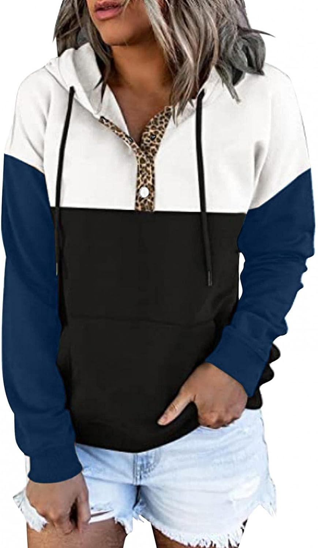 Womens Hoodies,Womens Casual Pullover Button Down Hoodies Drawstring Hooded Pocket Long Sleeve Tops Sweatshirts