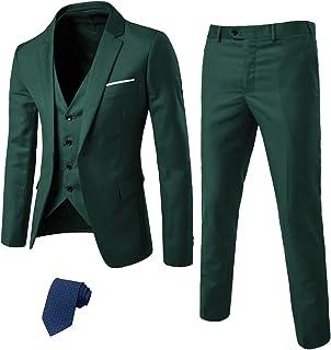 MrSure Men's 3 Piece Suit Blazer, Slim Fit Tux with One Button, Jacket Vest Pants & Tie Set for Party, Wedding and Business