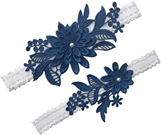 Elifemona Womens Sexy Lace Wedding Garter Set for Bride Party Prom Garters 2 Pcs