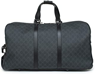 Gucci Signature Duffle Black Luggage Supreme Leather bag Roller Roll Wheels New