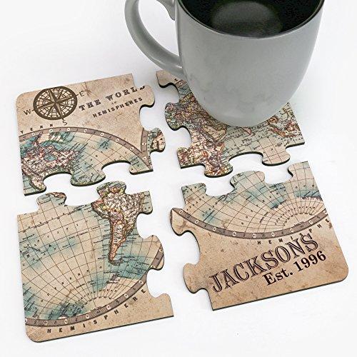 Personalized Direct The World Of Hemispheres Custom Family Coaster Puzzle
