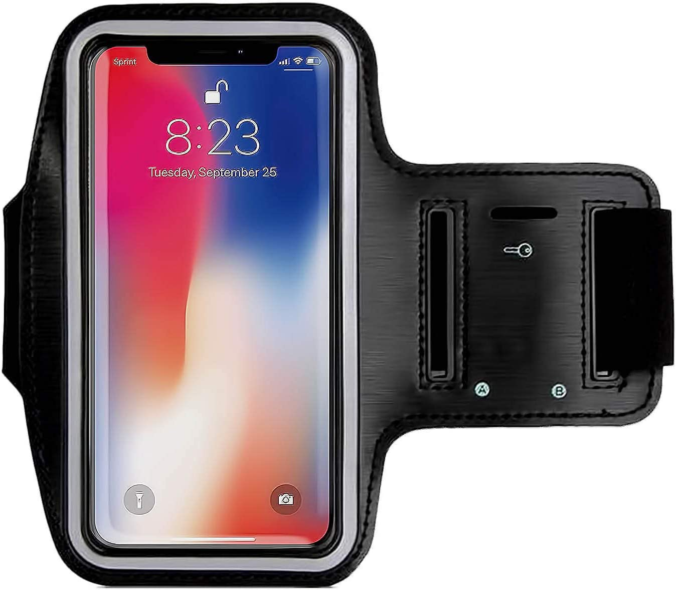 CaseHQ Water Resistant Cell Phone Armband Case Compatible Phone iPhone 11, 11 Pro, 11 Pro Max, X, Xs, Xs Max, Xr, 8, 7, 6, Plus Galaxy S10, S9, S8, S7, Plus Sizes and More. Adjustable Band & Key Slot