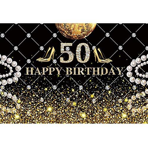 YongFoto 3x2m Geburtstag Fotografie Hintergrund Alles Gute zum 50 Geburtstag Hoher Absatz Perle Disco-Kugel Hintergrund für Party Dekoration Erwachsene Elternteil Ältere Familie Fotografie Foto
