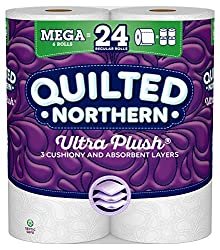 Quilted Northern Ultra Plush Toilet Paper, 6 Mega Rolls, 6 = 24 Regular Bath Tissue Rolls