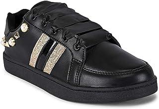KazarMax Women's Studded Gold & Black Platform Sneakers Shoes