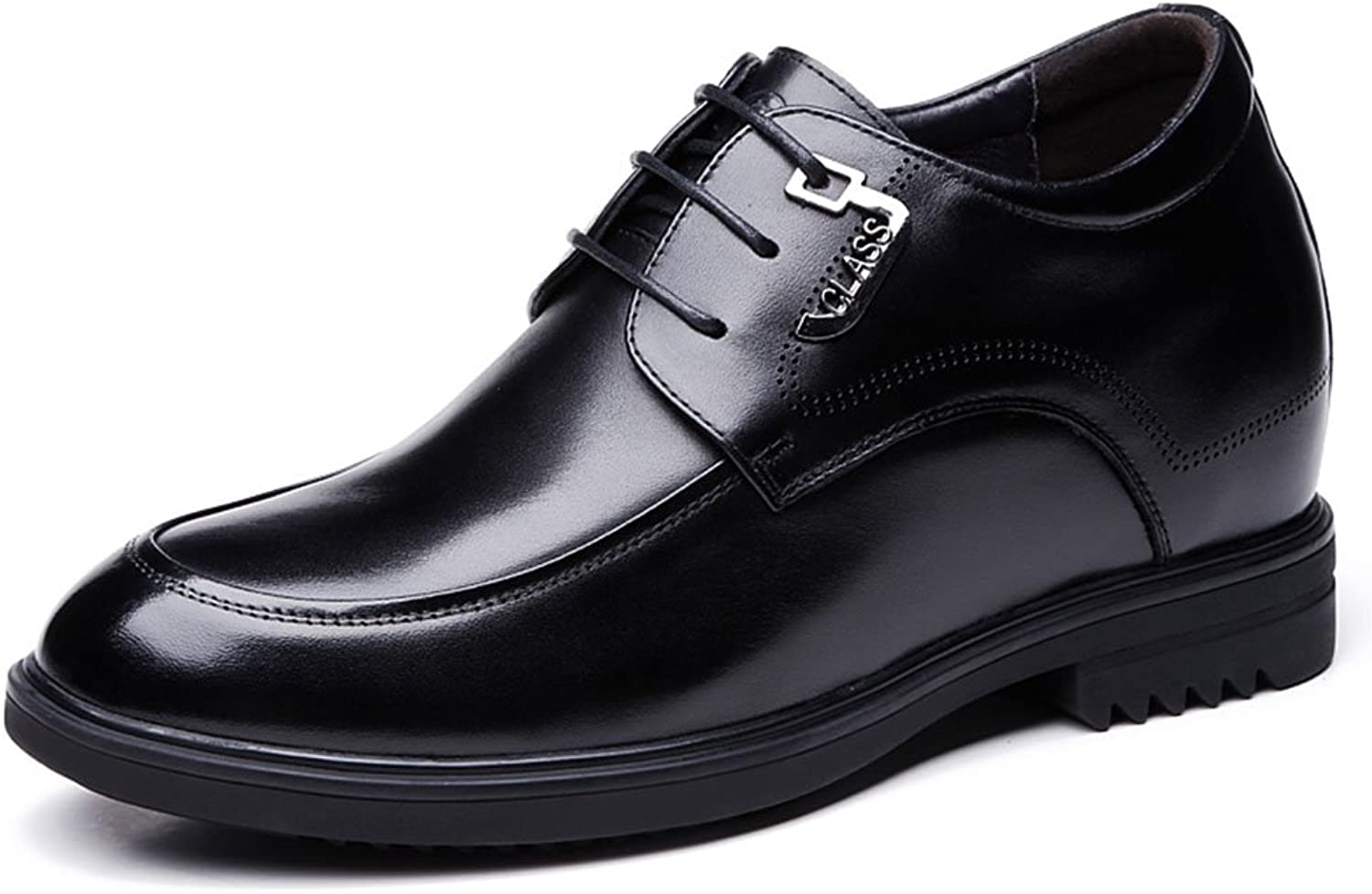 SNQ Black Taller-Calf Leather Wedding Party Business Oxfords shoes for Men