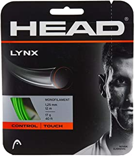 Lynx Medium Firm Green Colored Polyester (Poly) Tennis Racquet String Sets - 16/17/18 Gauges - in Multi-Packs - Best for Control and Spin (2-4-6-8-Packs)