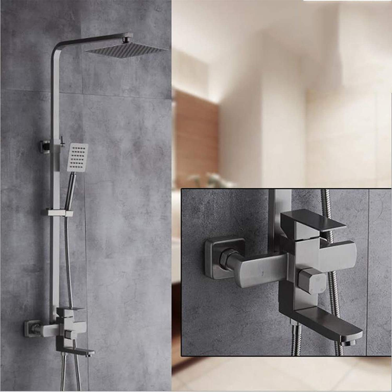 AA100 Thermostatic shower set stainless steel shower mixing valve ABS water-saving booster nozzle