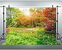 HD 7x5ftスプリングガーデンの背景日光の森フラワーフィールド写真の背景自然の風景YouTube背景 635