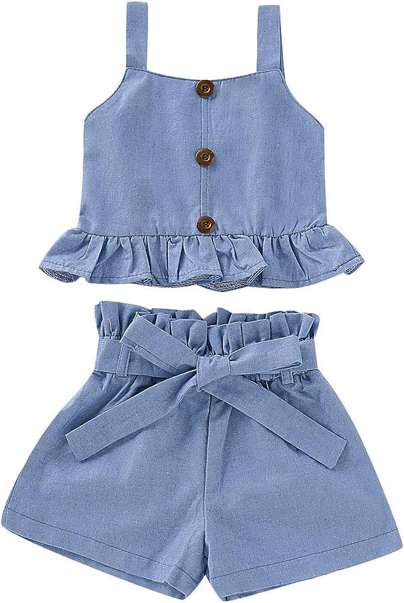 Toddler Baby Girl Denim Outfits Set Ruffled Strap Crop Tops+ Denim Short Pants with Bowknot Belt Summer Clothes Set