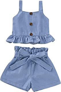 Kids Baby Girls Outfits Floral Ruffle Off Shoulder Crop Tops + Bowknot Denim Shorts Skirt Set Toddler Summer Clothes (Straped Denim, 12-18 Months)