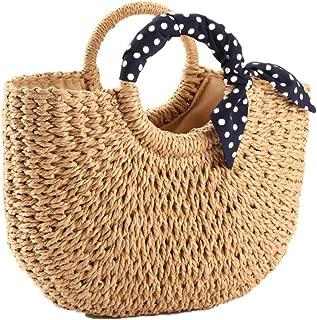 YOUNG-X Handmade Straw PurseHobo Mini Tote Natural Vintage Bag, Women Round Handle Ring Rattan Retro handbag Summer Beach