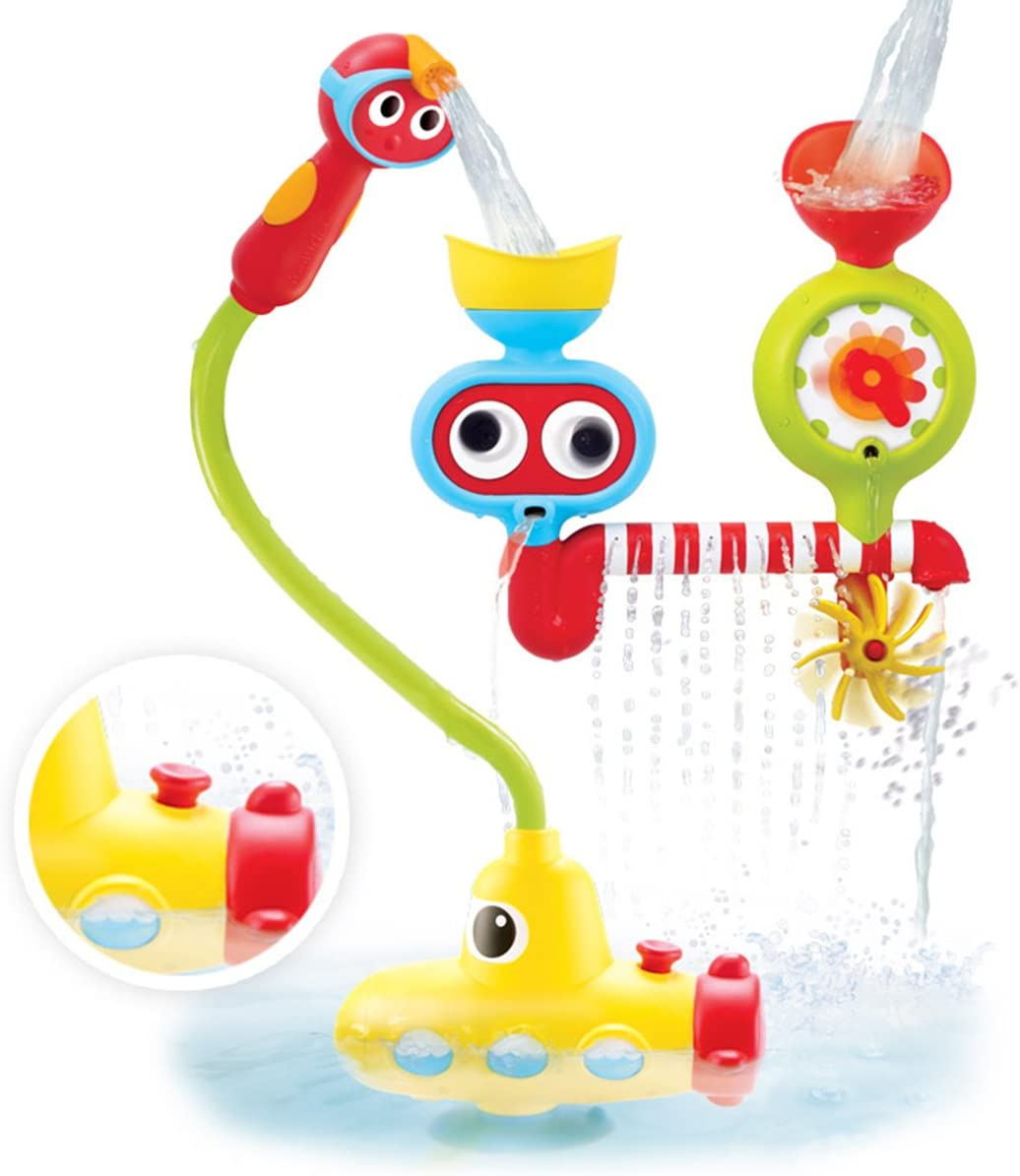 Many Ways to Play for Ages 2-6 Submarine Spray Station Closed Box Battery Operated Water Pump with Hand Shower Yookidoo Bath Toy Googly Eyes Water Spinner