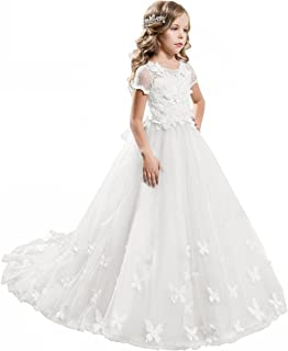 ABAO SISTER Elegant Lace Applique Floor Length Flower Girl Dress Wedding Birthday Pageant Ball Gown