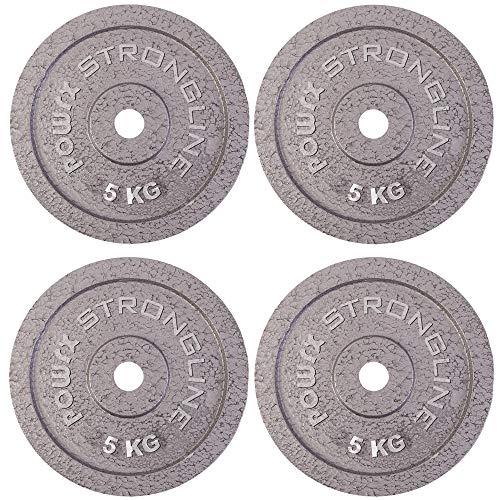 POWRX Discos pesas hierro fundido 20 kg set (4 x 5 kg) - Ideales para mancuernas y barras con diámetro 30 mm + PDF workout (Plata)