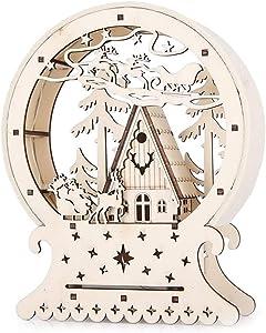 Ornamenti di Natale Illuminazione a LED innovativa Piccola casa di legno Decorazione per il desktop Puntelli per la festa natalizia natale decorazioni