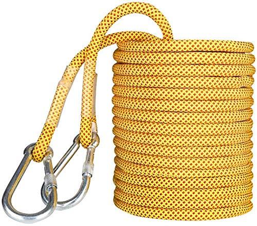 Corde Corde pour Grimper en Plein Air Diamètre -16mm, Longueur -10m / 15m / 20m / 30m / 40m / 50m / 60m Corde À Lier De Sauvetage, Polyester Haute Résistance,Yellow,15m