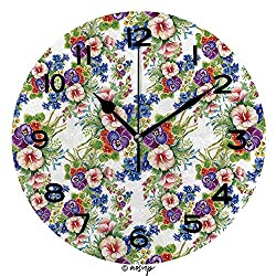 AmaUncle Print Round Wall Clock, 10 Inch Floral Colorful Mallow Flowers Pattern On White Background Vector Quiet Desk Clock for Home,Office,School No22154