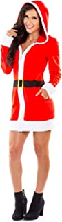 Women's Mrs. Claus Christmas Sweater Dress - Red Zip Up Santa Dress with Hood Female