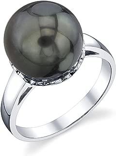 THE PEARL SOURCE 10-11mm Genuine Black Tahitian South Sea Cultured Pearl Laurel Ring for Women