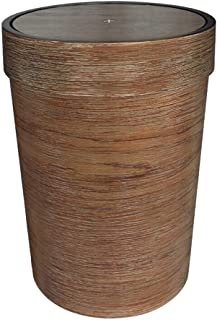ZXJshyp Dark Wood Grain Round Trash Can Shake Cover Bathroom Kitchen Living Room Creative Trash Can Simple Shape (Color : ...