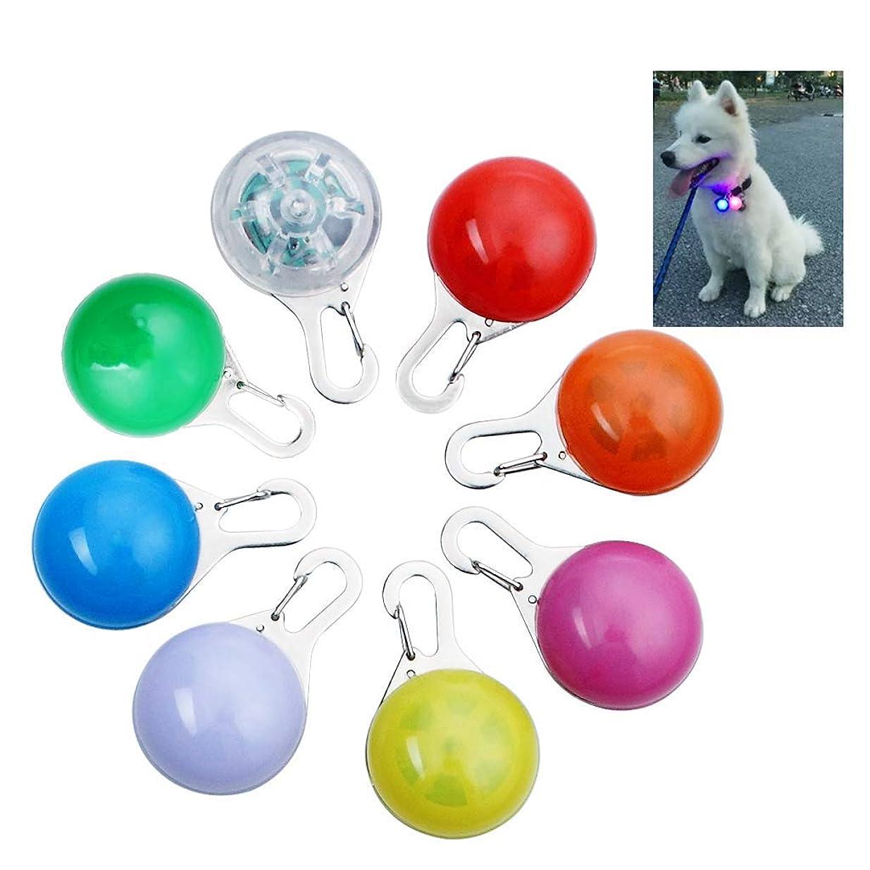 駐地援助害虫犬ライト ペット首輪ライト 8個クリップの魅力なライト、ペット防水安全夜中に歩いてLEDライト