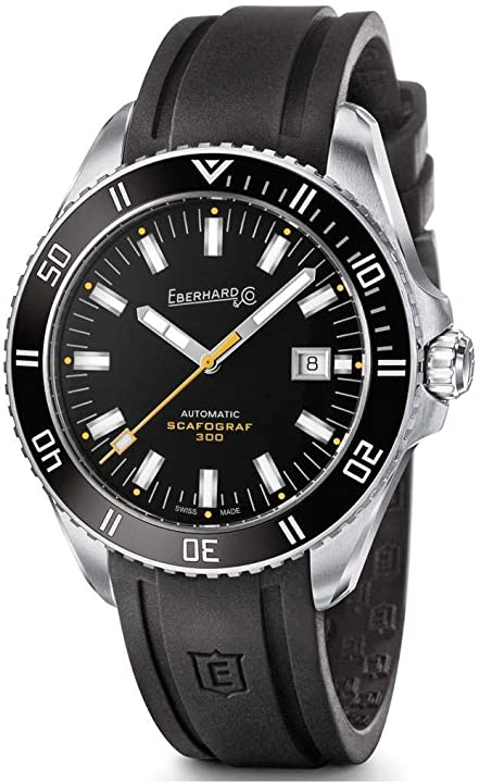 Orologio eberhard & co men`s scafograf 300 43mm rubber band automatic watch 41034.1 41034.1 CU