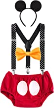 FYMNSI Baby Boys Birthday Cake Smash Mickey Costume Y-Back Suspender Bloomers Bow Tie Headband Photo Props 4pcs Outfits