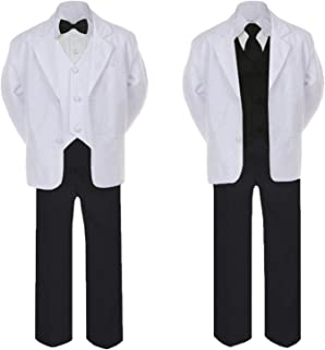 TM SALE! 7pc Boy Formal Suit Tux Set Satin Necktie & Vest Baby Toddler size 5, 6, 7