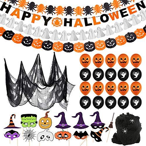 Bluelves Halloween Palloncino Decorazione Set,Ragnatela Tenda,Happy Halloween Banner Ghirlande, Foto Prop Halloween,10 Zucca Palloncini,10 Fantasmi Palloncini per Casa Decorazione,Tavola e Giardino