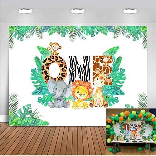 Mehofoto 1st Birthday Backdrop 7x5ft Vinyl Wild Forest Dschungel Safari Photo Booth Backdrops Elefant AFFE Baby Shower Fotografie Hintergrund