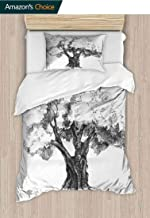 Tree Custom Made Quilt Cover and Pillowcase Set, Sketch Artwork of Olive Tree Foliage Mediterranean, 2 Piece (1 Duvet Cover + 1 Pillow Sham)-110 GSM Ultra Soft Hypoallergenic Microfiber Black White