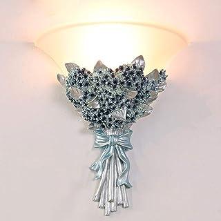 HHKQ Lámpara de Pared Estilo Europeo Interior, Clásica Flores Aplique de Pared para Ssala de Estar Hotel Pasillo E27 Resina Lámpara Aplique con Pantalla de Vidrio,Baby's breath
