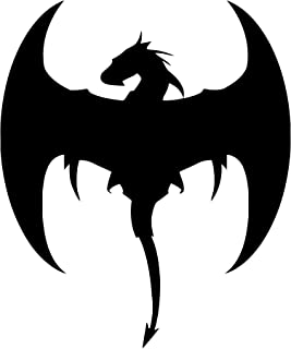 """Minglewood Trading White - Set of 2 Flying Dragon 2.5"""" x 2"""" Vinyl Decal Stickers -V4- Wyvern Medieval Fantasy Gaming - 20 Color Options"""