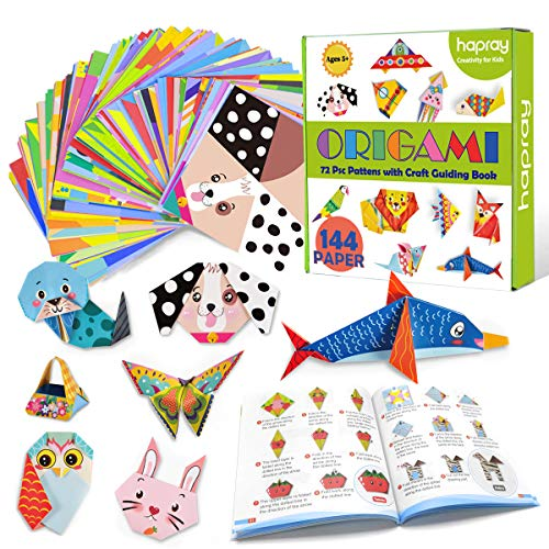hapray Origami Kit 144 sheets Origami Paper for Kids 72 Patterns with Craft Guiding Book