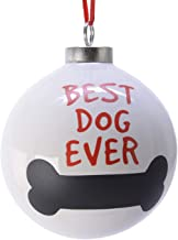 """TRIXES """"Best Dog Ever"""" Bone Christmas Bauble Decoration – Ceramic Ornament – Cream and Red"""