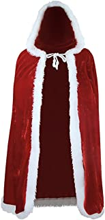 Zuozee Mrs Santa Claus Costume,Santa Cape Xmas Costumes,Velvet Hooded Cloak Robe Christmas Women Girls