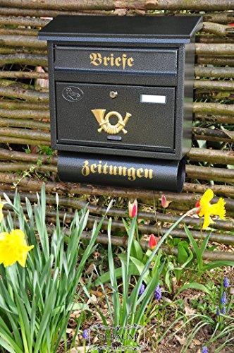 NEU Briefkasten, Premium-Qualität aus Stahl, mit Schutzlackierung F XXL anthrazit schwarz Farbe gold mit Zeitungsrolle fertig montiert Postkasten Post