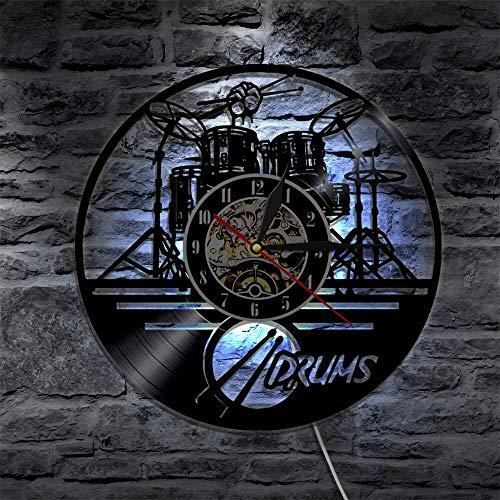 XDG Schlagzeuger Personalisierte Trommel Wanduhr Musikinstrument Trommel Kit Wanddekoration Schallplatte Wanduhr Musikliebhaber Schlagzeuger Geschenk (Größe: 12 Zoll Mit LED)